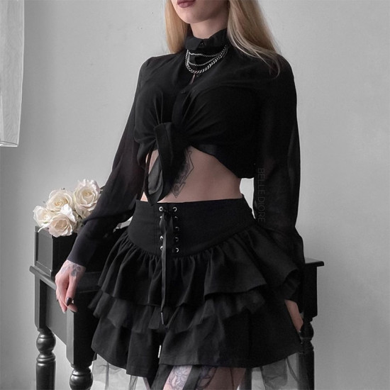 SUCHCUTE Goth Aesthetic Lace Up Mini Skirt For Women Dark Academia Mesh Patchwork A-Line Skirt Punk Style Party Black Saias