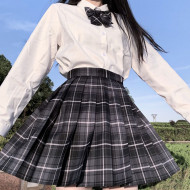 2020 Summer Korean High Waist Pleated Skirts Black Gothic Sexy Cute Mini Plaid Skirt Women JK Uniform Students Clothes Y2K 90S