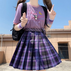 Women Purple Black Goth Pleated Plaid Skirt Glir High Waist Mini Sexy Skirts Japanese School Harajuku Cosplay Anime Sailor Suit