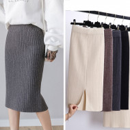 2020 Women Office Skirt Spring autumn Sexy Warm Knitted Black Pencil Skirts Ladies High Waist Elegant Long Skir Party Club Skirt