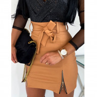 Fashion Sexy High Waist PU Leather Women Elegant Skirts Sashes Zipper Pencil Mini Length Spring Autumn Winter White Black Khaki