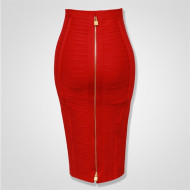 12 Colors Plus Size XL XXL Sexy Solid Zipper Orange Blue Black Bandage Skirt Women Elastic Bodycon Summer Pencil Skirt 58cm
