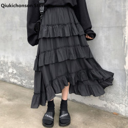 Qiukichonson Midi Long Skirts Womens Maxi Skirt Goth Lolita Summer High Waisted Asymmetrical High Low Ruched Ruffle Skirts rok