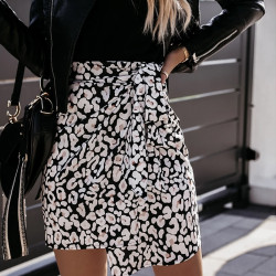 Women High Waist Leopard Print Mini Wrap Skirt Autumn Casual Slim Bandage Fladas Female Elegant Irregular Bodycon Short Skirts