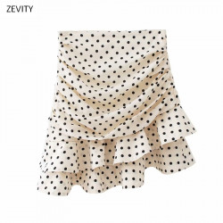 Women fashion polka dot print pleated asymmetrical skirt faldas mujer ladies back zipper vestidos chic ruffles skirts QUN379